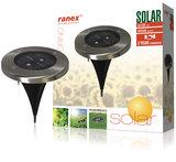 Ranex Ra-5000389 Ronde Led Solar Grondspot Geborsteld Rvs Glas_